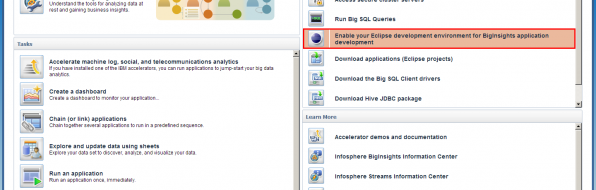 BigInsights Screenshot - Enable eclipse environment