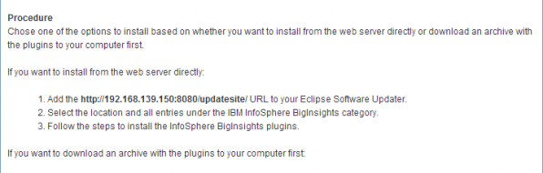BigInsights Screenshot - Eclipse plugin installation instructions