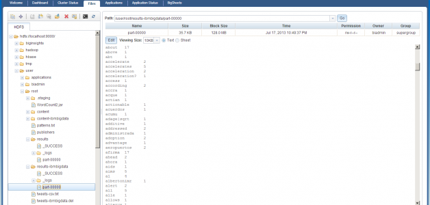 BigInsights - HDFS files in the web console
